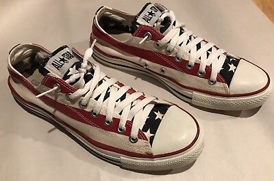 Vtg Converse All Star American Flag Low Top Shoes Made in USA 9.5 Red White Blue