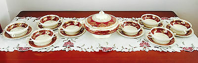 Vintage Crown Ducal Ware England Burgundy & Gold 9 Piece Soup Set C1930's