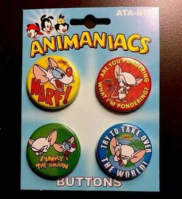 Animaniacs Metal Pins New 4 Buttons Pinky And The Brain Logo