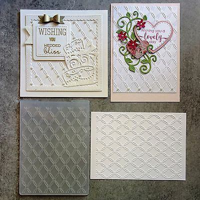 DIAMOND PATTERN BIRTHDAY WEDDING ANNIVERSARY EMBOSSING FOLDER 10.6cmx14.5cm NEW