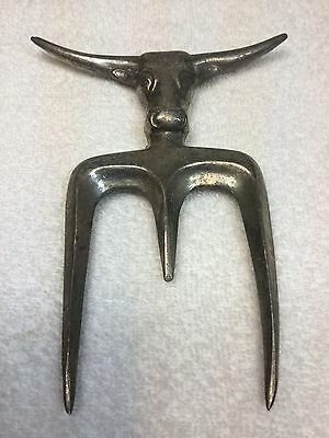 "Vintage Original Solid Aluminum ""Steer Head""~ Roast Holding Carving Fork Utensil"