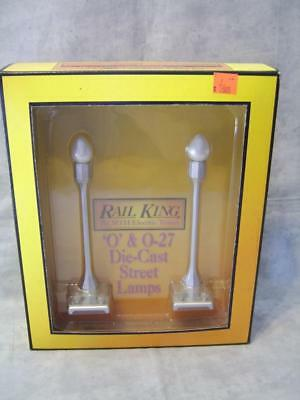 T159 Rail King Silver 2 Lamp Street Lights 1930's Era #1078 NIB Trains O Scale