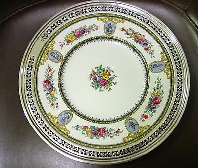 """Fine Vtg Wedgwood 9"""" Floral & Cameo Serving Plate W/ 1"""" Reticulated Sterling Rim"""