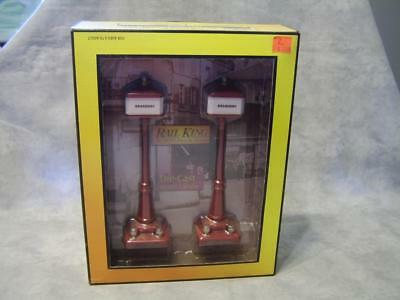 T255 Red Die-Cast Corner Lamp Set #57 NIB Rail King O Scale #30-1084 Trains