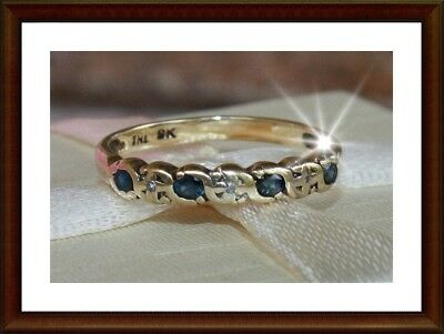 ESTATE 9ct 9K solid yellow gold genuine diamond & sapphire ring, solid gold