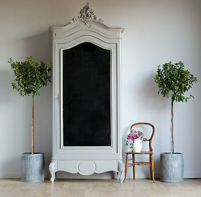 Antique French Knockdown 1-Door Mirrored Armoire Wardrobe Painted Farrow & Ball