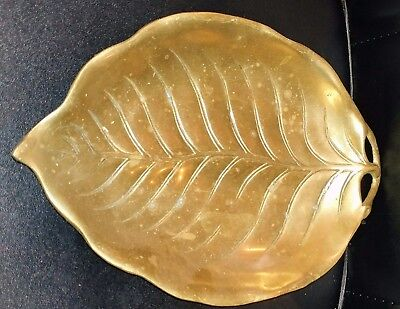 """Antique Vintage Large Solid Brass Leaf Shaped Candy Bowl Dish Tray 10.25x7"""""""