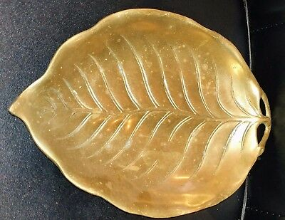 Antique Vintage Large Solid Brass Leaf Shaped Candy Bowl Dish Tray FREE SHIPPING