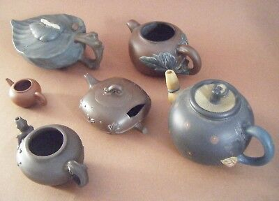 Five Chinese Pottery Yixing Zisha Teapots~19th-20th C Missing Lid or Damage
