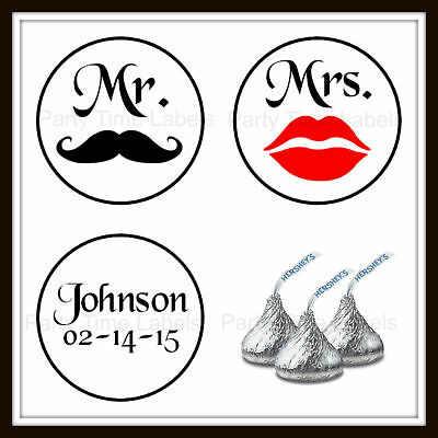 Wedding Anniversary Favor Lips Moustache Hershey Kiss Labels Stickers