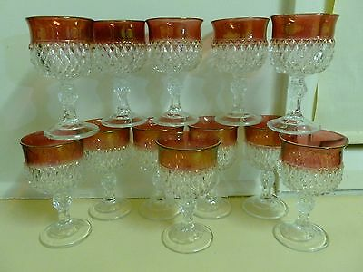 Vtg USA Indiana Glass Crystal Diamond Point Ruby Glass Goblet (price Per Glass)