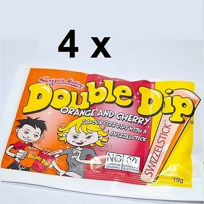 4 x UK SWIZZELS DOUBLE DIP Orange and Cherry Flavour Fizz Dips Lollies 19g each