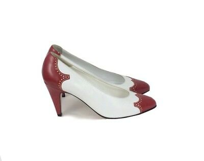 Size 6M 36 Vintage Bally Red & White Heels Shoes