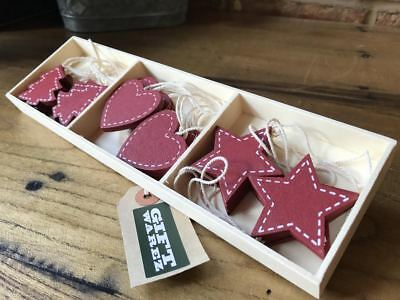 18x Vintage Hearts & Stars Wooden Christmas Tree Bauble Decorations Ornaments