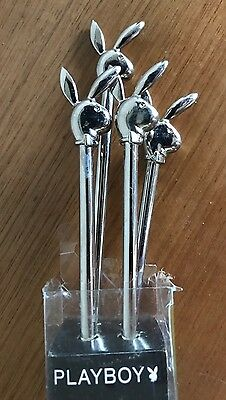 Playboy METAL Cocktail Stirrers / Swizzle Sticks - Set of 4 in Box - Hugh Hefner