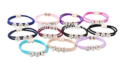 NEW Beautiful Triple Crystal Double Hair Tie / Band, 11 Colours, UK Seller