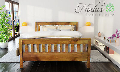 New solid wooden pine 5ft King Size bed frame with slats - oak colour 'F16'