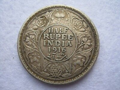 1916 India George V half Rupee silver coin (261)