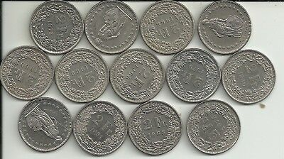 13 Switzerland   2 Franc COINS AFTER 1969