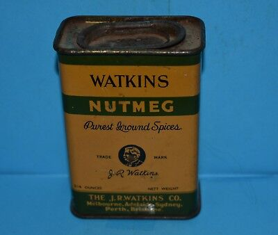 Rare Collectable Vintage J R Watkins 3/4 Oz Nutmeg Tin Empty Good Condition