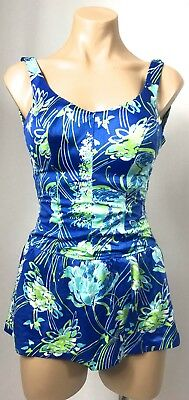 Vintage BLUE green botanical lycra SPANDEX skirt swimmers cozzies swimwear 6 8