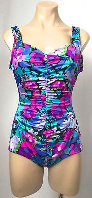 Vintage colourful FLORAL rouched  lycra SPANDEX swimmers cozies swimwear 10 12