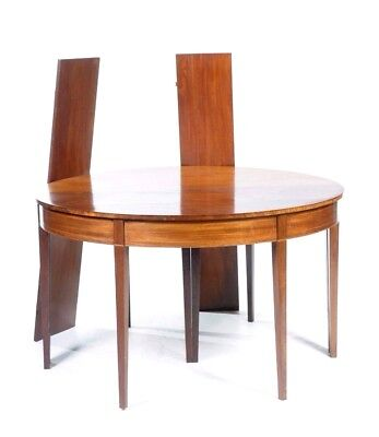 Nice Georgian Dining Table 2 Demi Lune Ends With Inlay + 2 Extra Leaves Mahog'