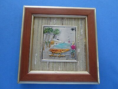 Sterling Silver Minature Repousse Framed Art Work. Made in Italy
