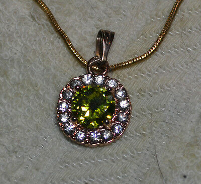 Vintage pendant, with chain, 14k rose gold, natural Peridot gemstone