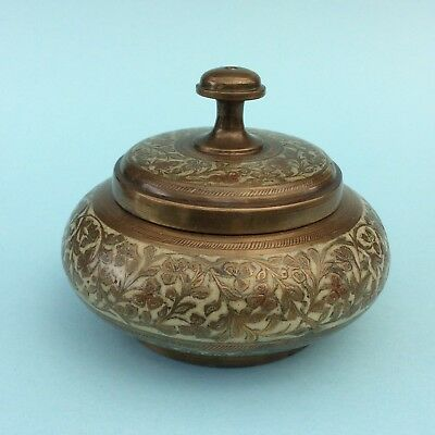 VINTAGE BRASS LIDDED TRINKET BOX CONTAINER Engraved Enameled Inlay India craft