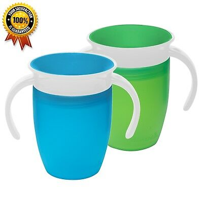 Munchkin Miracle 360 Trainer Cup,Blue/Green 7 Ounce, 2 Count Free Fast Shipping