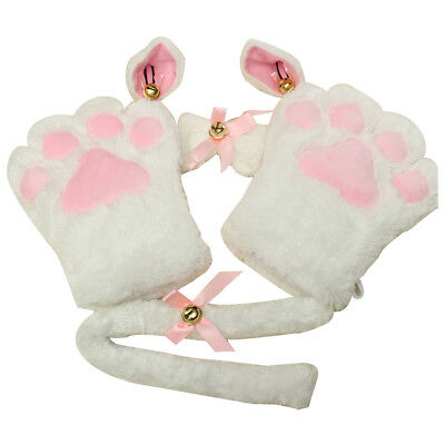 S29 Kitten Cat Maid Cosplay Roleplay Anime Costume Gloves Paw Ear Tail Tie Party