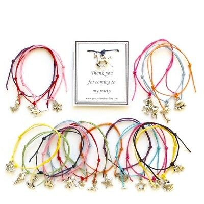 SALE - THANK YOU FOR COMING TO MY PARTY Friendship Bracelet 12 Colours 20 Charms