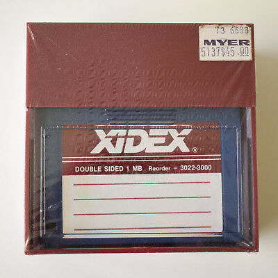 "Vintage 1980s Sealed Blank XIDEX Double Sided 1 MB 3.5"" Floppy Disks"