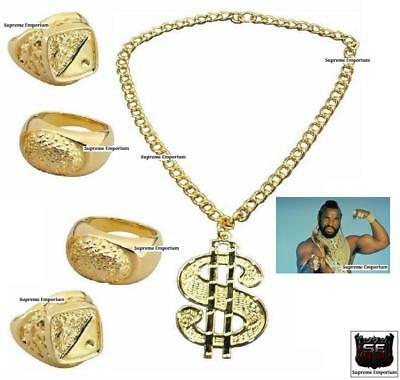 Mens Bling MR T BA Baracus Fancy Dress Gold Necklace Chain Rings 80s THE A TEAM