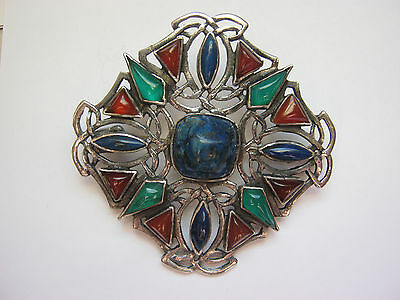 Art Deco brooch, .925 sterling silver with gorgeous colored stones, rectangular