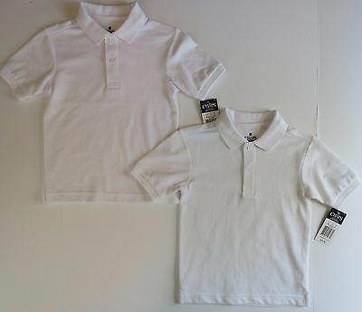 Lot Chaps Boys 5/6 White Polo School Uniforms Shirts Short Sleeve NEW
