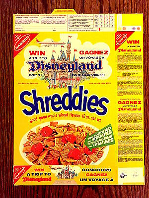 Vintage 1971 Disneyland Trip  Air Canada Nabisco Shreddies Cereal Box Excellent
