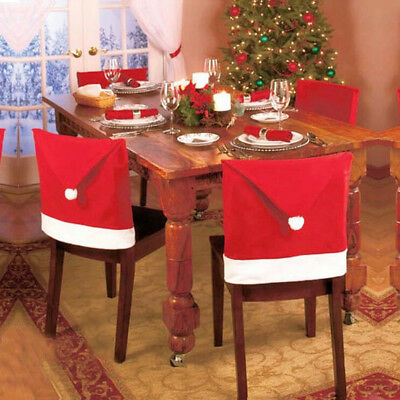 65X50cm Santa Claus Red Hat Chair Back Cover For Christmas Dinner Table Decors