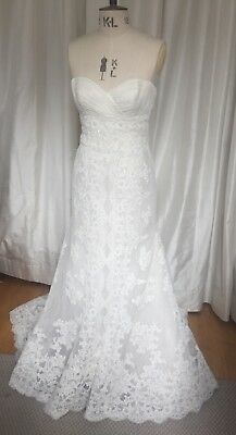 La Sposa Beaded Lace Wedding Dress, Bridal Gown Ivory, Size 12