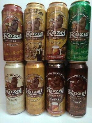 Velkopopovicky Kozel set of 8 beer cans 500ml.Limited Edition.Russia