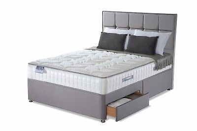 Grey Suede Divan Bed Base - Double - Single - King Size - Small Double - Storage