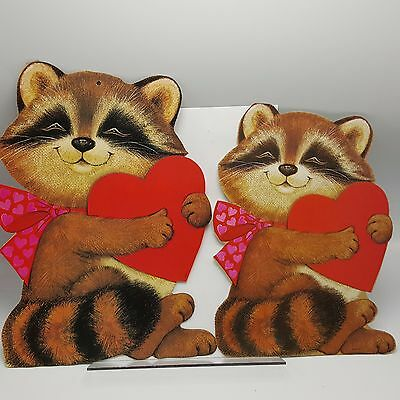 Raccoon Heart Cardboard Wall Decor Cutout Valentine Eureka Lot 2