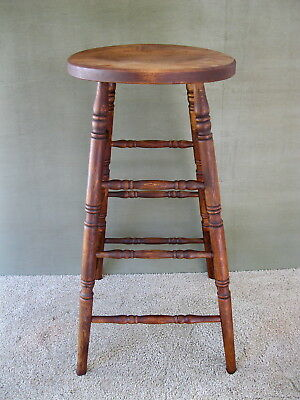 """Vintage Stool Primitive Pine & Hickory Wood, 29"""" Tall, Round Seat, 4-Leg Stand"""
