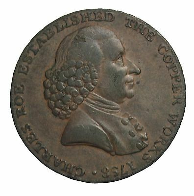 1791 Great Britain Cheshire Macclesfield Charles Roe Halfpenny Conder Token DH55