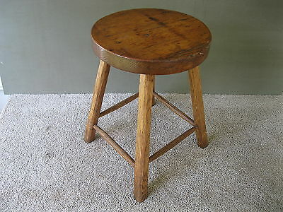 """Antique Stool Primitive Signed Dated 1912, Wood 17-1/2"""" Tall, 4-Leg Bench, Table"""