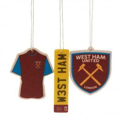 West Ham United FC Official Football Gift Air Freshener Car Accessory (3 Pack)