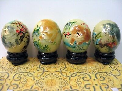 Set Of 4 Cat Hand Painted Onyx Eggs Wood Stands Original Box Smithsonian Catalog