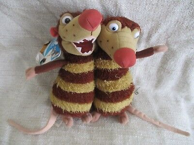 ICE AGE - Crash and Eddie beanie bean plush soft toy x 2 with tag VGC