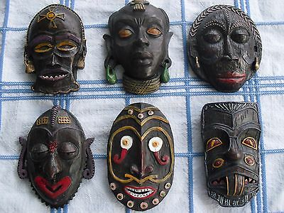 6 African Mask wood painted hanging hook tribe aboriginal decor souvenir face